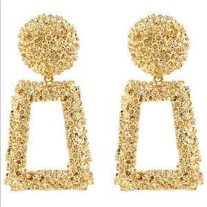 Golden Raised Design Statement Earrings